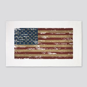 Vintage Distressed American Flag 3'x5' Area Rug