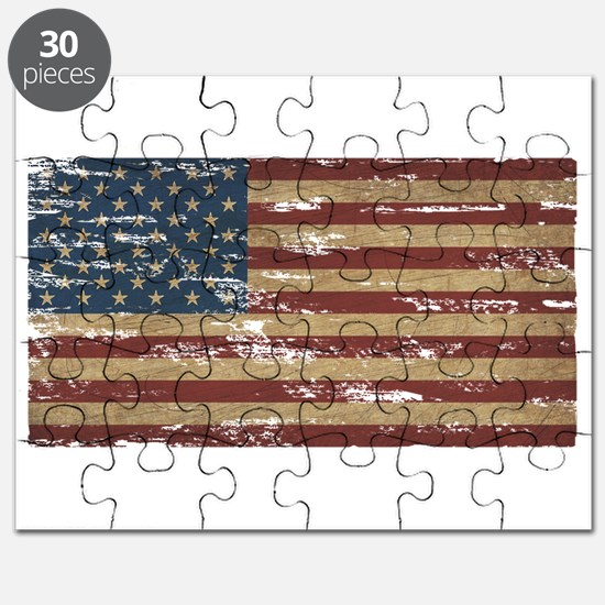 Vintage Distressed American Flag Puzzle