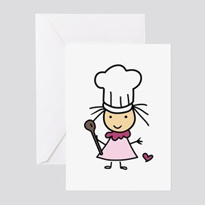 Little Chef Girl Greeting Cards