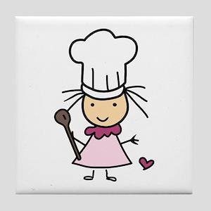 Little Chef Girl Tile Coaster