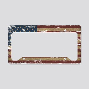 Vintage Distressed American Flag License Plate Hol