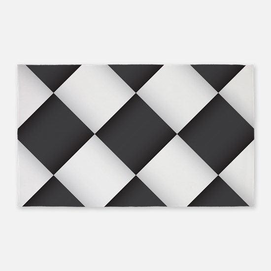 Chess Board Pattern 3'x5' Area Rug