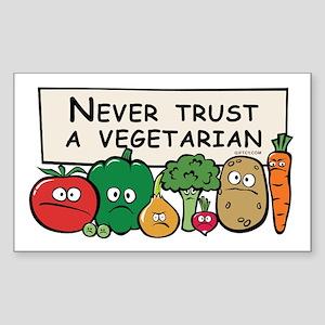 Never Trust a Vegetarian Rectangle Sticker