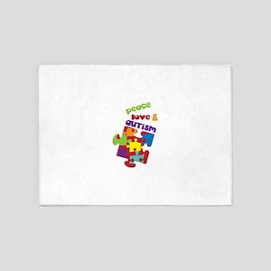 Peace love autism 5'x7'Area Rug