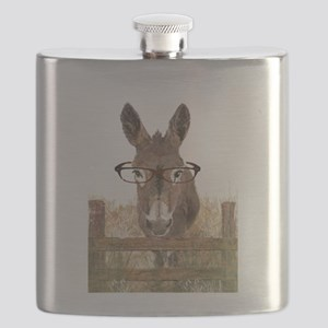 Humorous Smart Ass Donkey Painting Flask