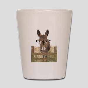 Humorous Smart Ass Donkey Painting Shot Glass