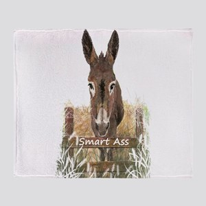 Fun Donkey Smart Ass Humor quote Throw Blanket