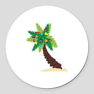 Christmas Palm Tree Round Car Magnet