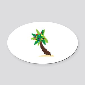 Christmas Palm Tree Oval Car Magnet