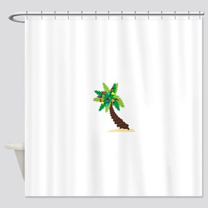 Christmas Palm Tree Shower Curtain