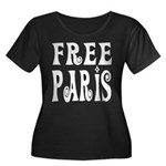 FREE PARIS Women's Plus Size Scoop Neck Dark T-Shi