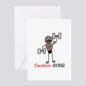 Caution: GUNS Greeting Cards
