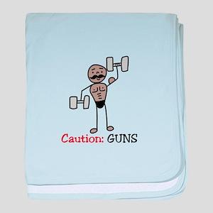 Caution: GUNS baby blanket