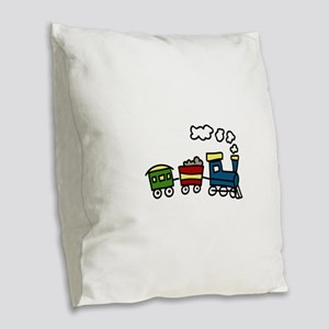 Choo-Choo Train Burlap Throw Pillow