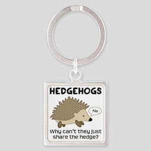 Hedgehog Pun Square Keychain