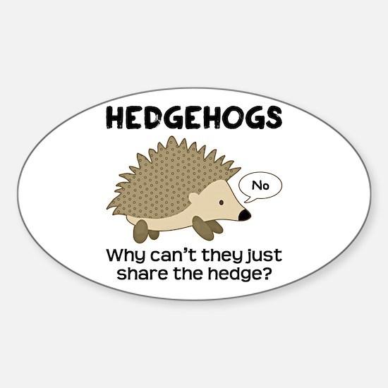 Hedgehog Pun Sticker (Oval)