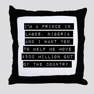 Im A Prince In Lagos Nigeria Throw Pillow
