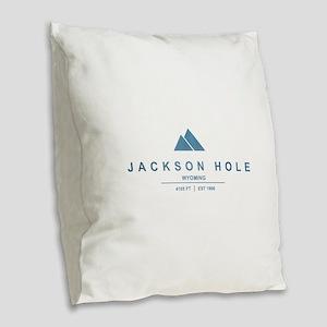 Jackson Hole Ski Resort Wyoming Burlap Throw Pillo