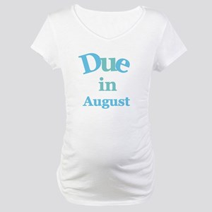 Blue Due in August Maternity T-Shirt