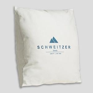 Schweitzer Ski Resort Idaho Burlap Throw Pillow