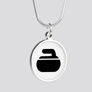 Curling stone symbol Silver Round Necklace
