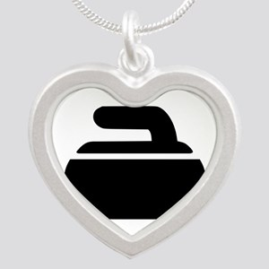 Curling stone symbol Silver Heart Necklace