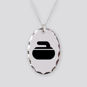 Curling stone symbol Necklace Oval Charm