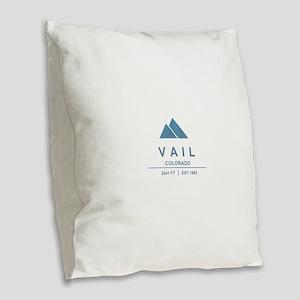 Vail Ski Resort Burlap Throw Pillow
