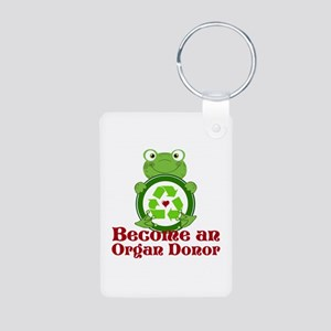 Organ donor recycle frog Aluminum Photo Keychain