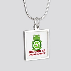 Organ donor recycle frog Silver Square Necklace