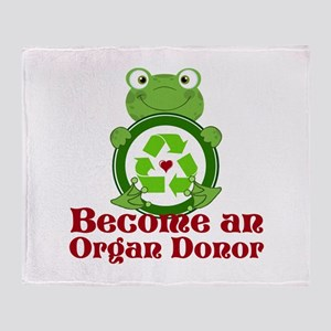 Organ donor recycle frog Throw Blanket