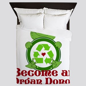Organ donor recycle frog Queen Duvet