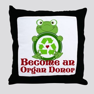 Organ donor recycle frog Throw Pillow