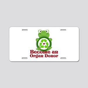 Organ donor recycle frog Aluminum License Plate