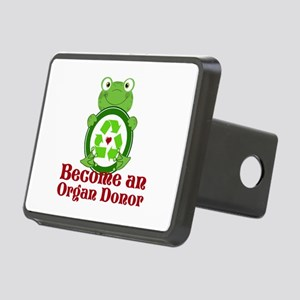 Organ donor recycle frog Rectangular Hitch Cover