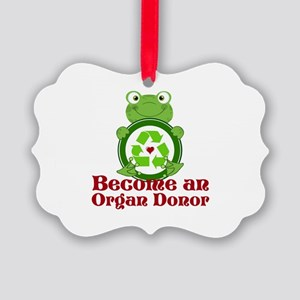 Organ donor recycle frog Picture Ornament