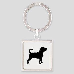 Puggle Dog Square Keychain