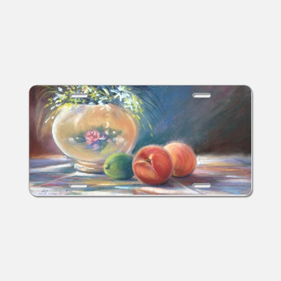Peaches and flowers pastel Aluminum License Plate
