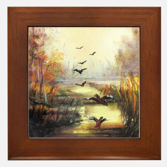 Autumn hunting pastel Framed Tile
