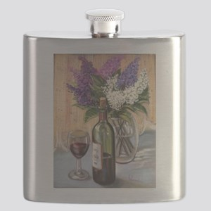 Glass of wine and lilac Flask