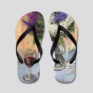 Glass of wine and lilac Flip Flops