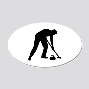 Curling player team 20x12 Oval Wall Decal