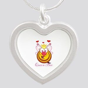 Personalizable Queen Bee Silver Heart Necklace