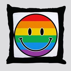 Gay Smiley Throw Pillow