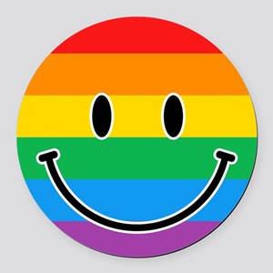 Gay Smiley Round Car Magnet