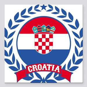 "Croatia Wreath Square Car Magnet 3"" x 3"""