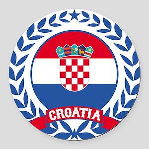 Croatia Wreath Round Car Magnet