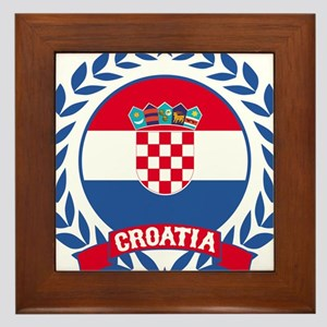 Croatia Wreath Framed Tile