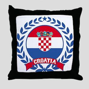 Croatia Wreath Throw Pillow