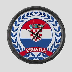 Croatia Wreath Large Wall Clock